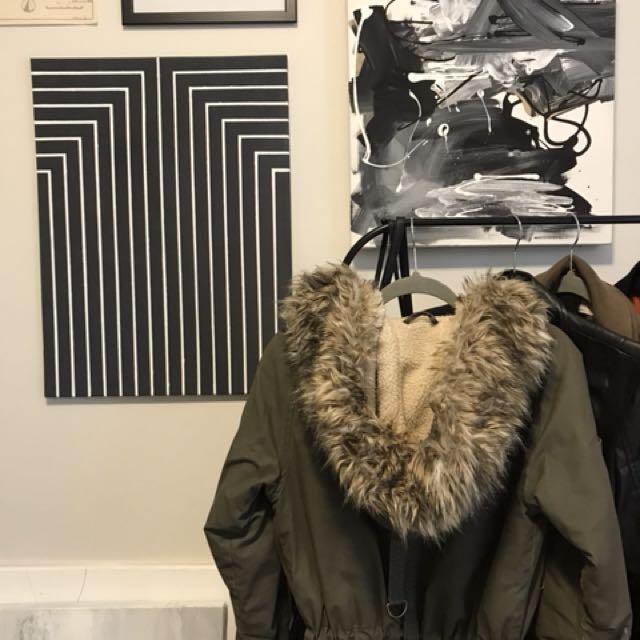 ROOTS LONG GREEN COAT