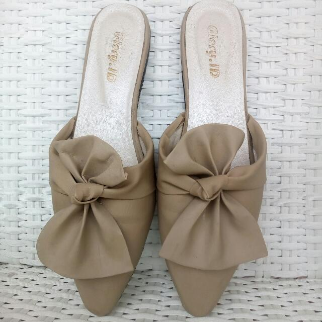 Slipper Bow Flat Shoes Size 36