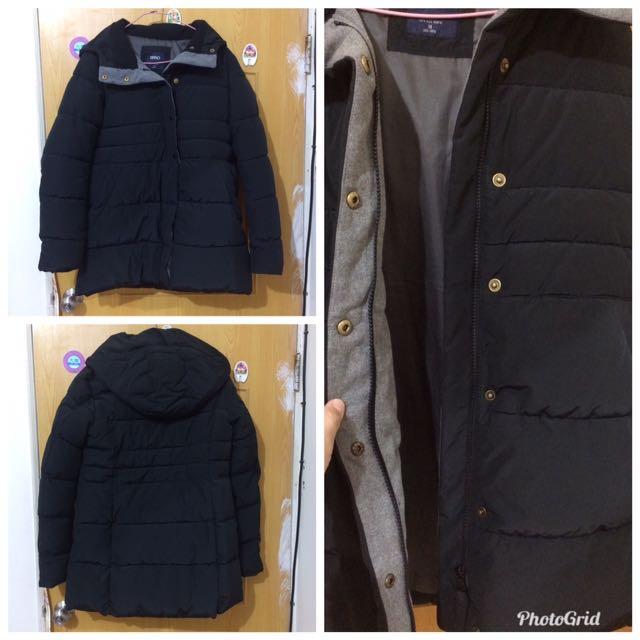 SPAO黑色雨絨鋪棉長版外套M號
