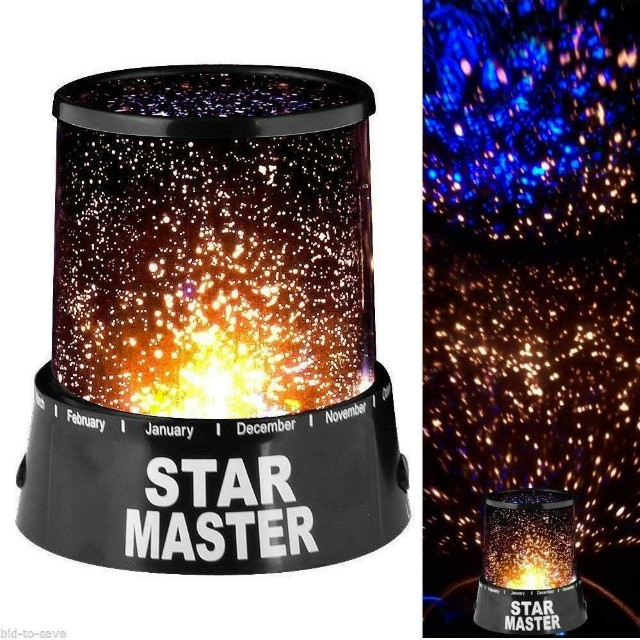 Star Master Rotating Projector Lamp Colorful, 4 LED Lights, Projection - Black NEW