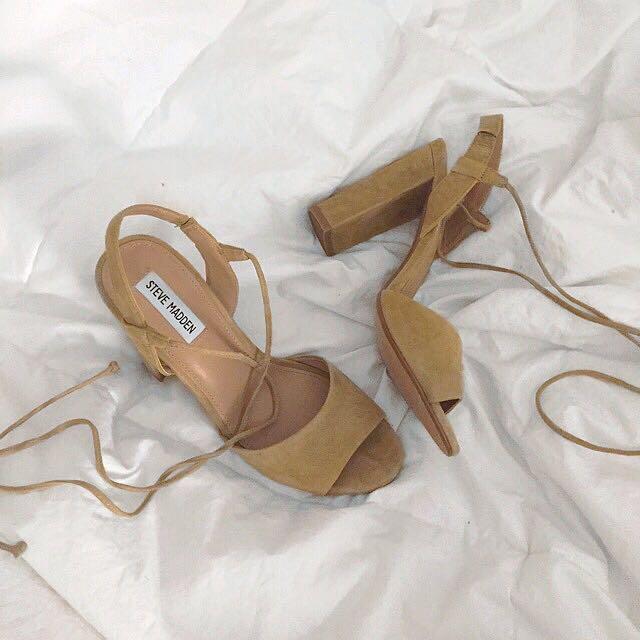 Steve Madden 'Serrina' Peep-Toe Lace Up Sandal Heels