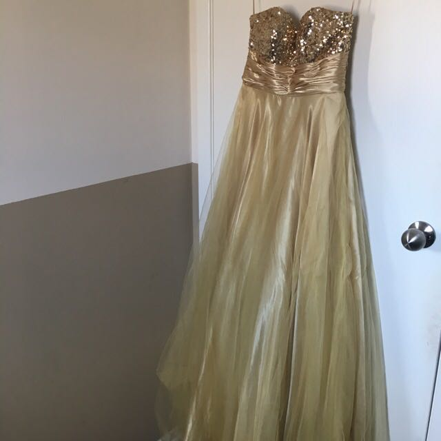 Strapless Gold Prom Dress ✨