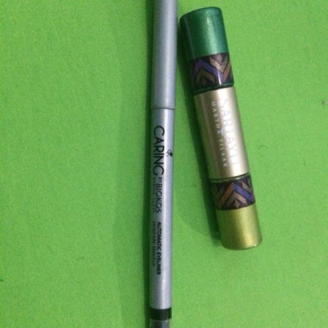 Take it all sariayu green eyeshadow & eyeliner solid pomade biokos
