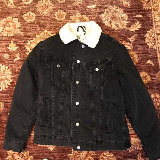 Top shop borg lined black jean jacket size 6