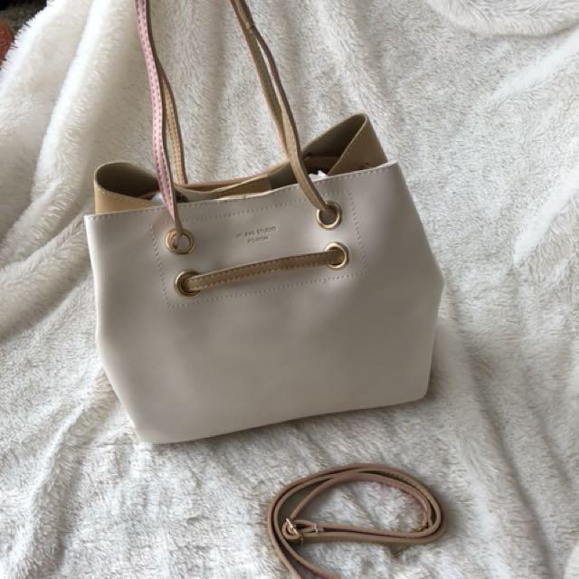 Tote bag - leather beige and blush colour multi purpose bag