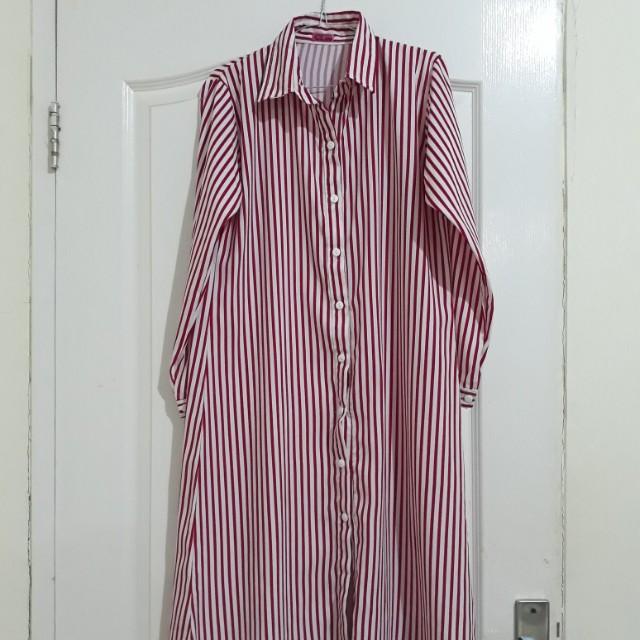 Tunik magenta stripe white