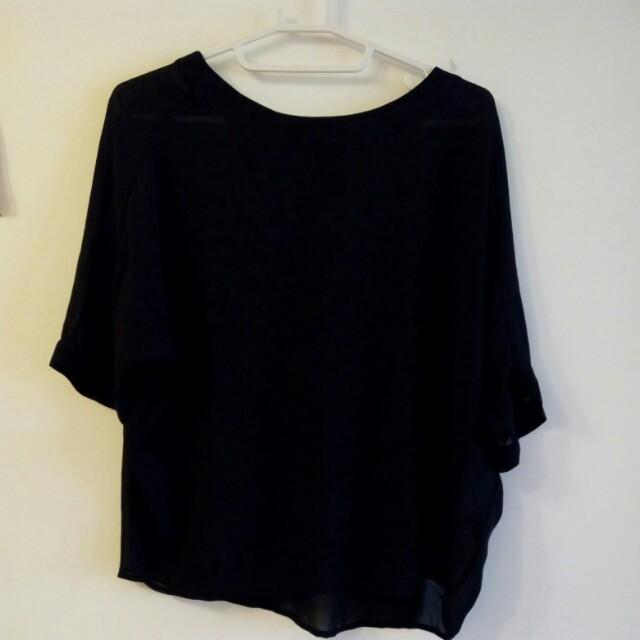 Uniqlo 黑色 罩衫