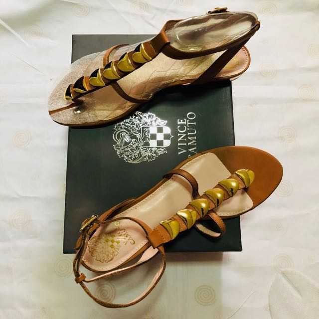 bf725f9503f1 🔥Vince Camuto Embellished Leather Sandals on Carousell