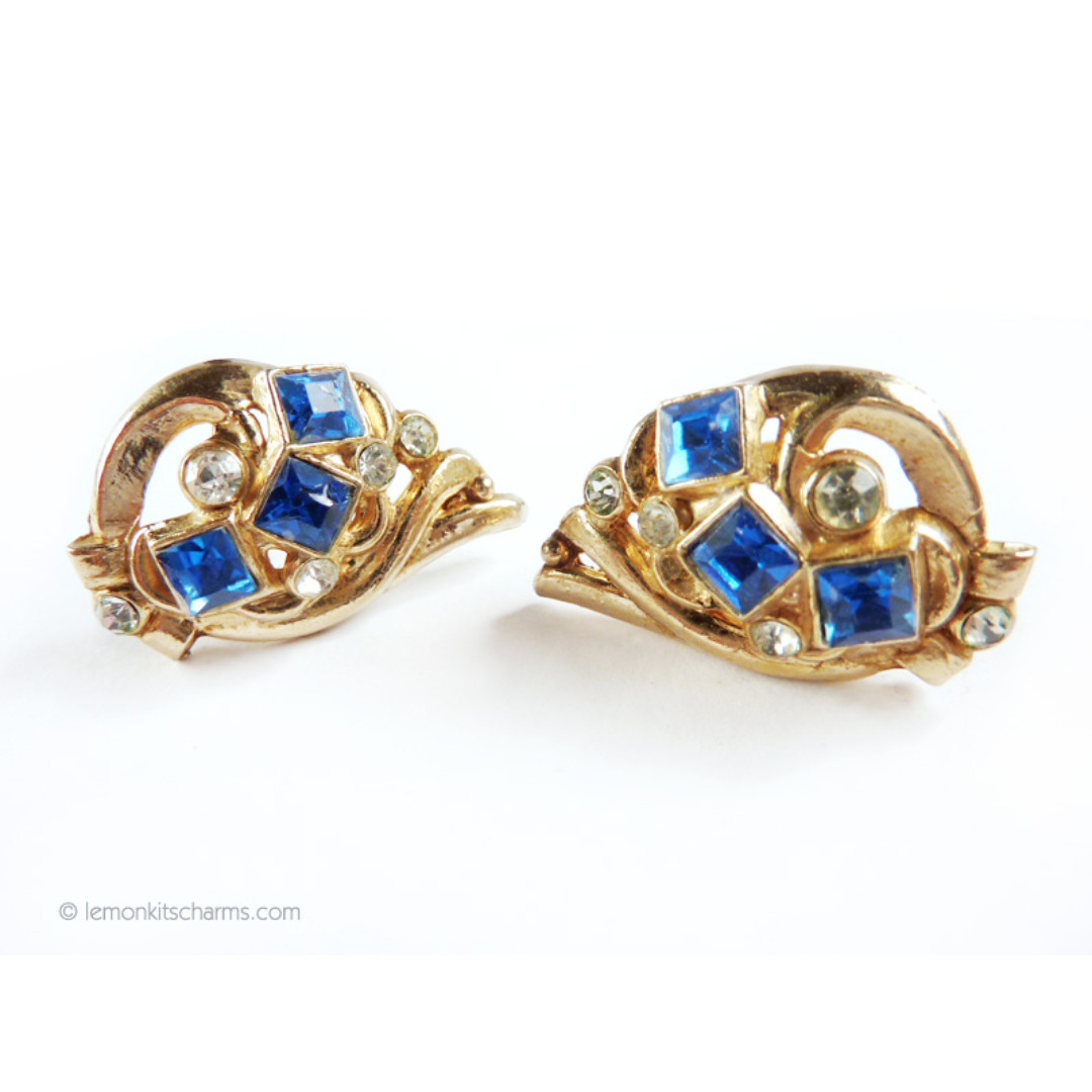 Vintage 1940s Lisner Blue Rhinestone Earrings, Screw-back Clip, er1532-c