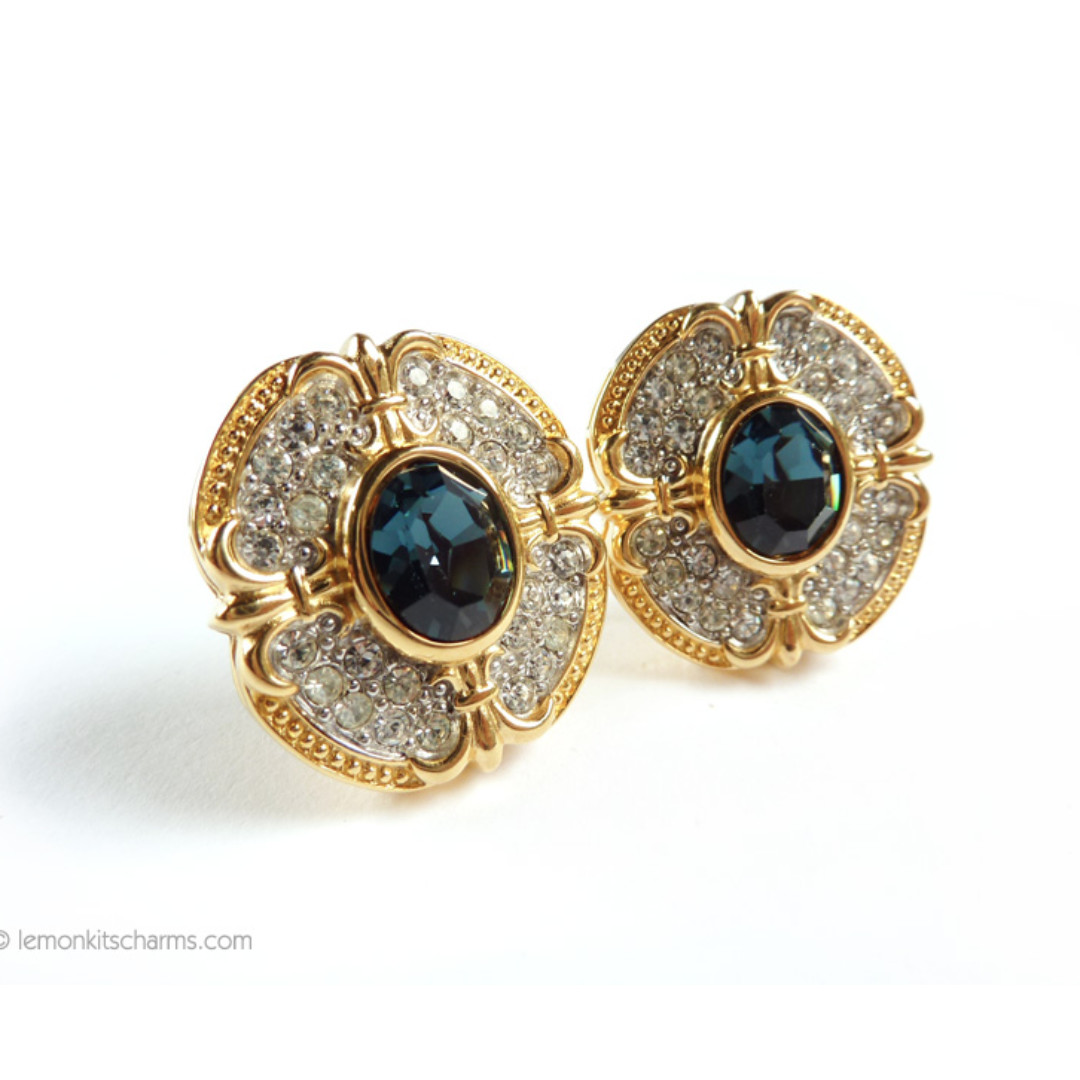 Vintage Joan Rivers Blue Rhinestone Earrings, Clip On Style, er1530-c