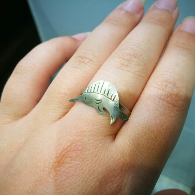 Vintage mexican garfish sterling silver ring