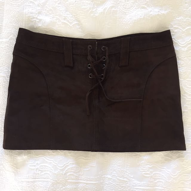 Vintage Suede Brown Mini Skirt