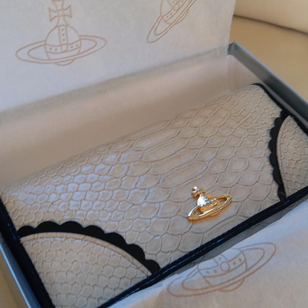 Vivienne Westwood Frilly Snake Ivory Embossed Wallet