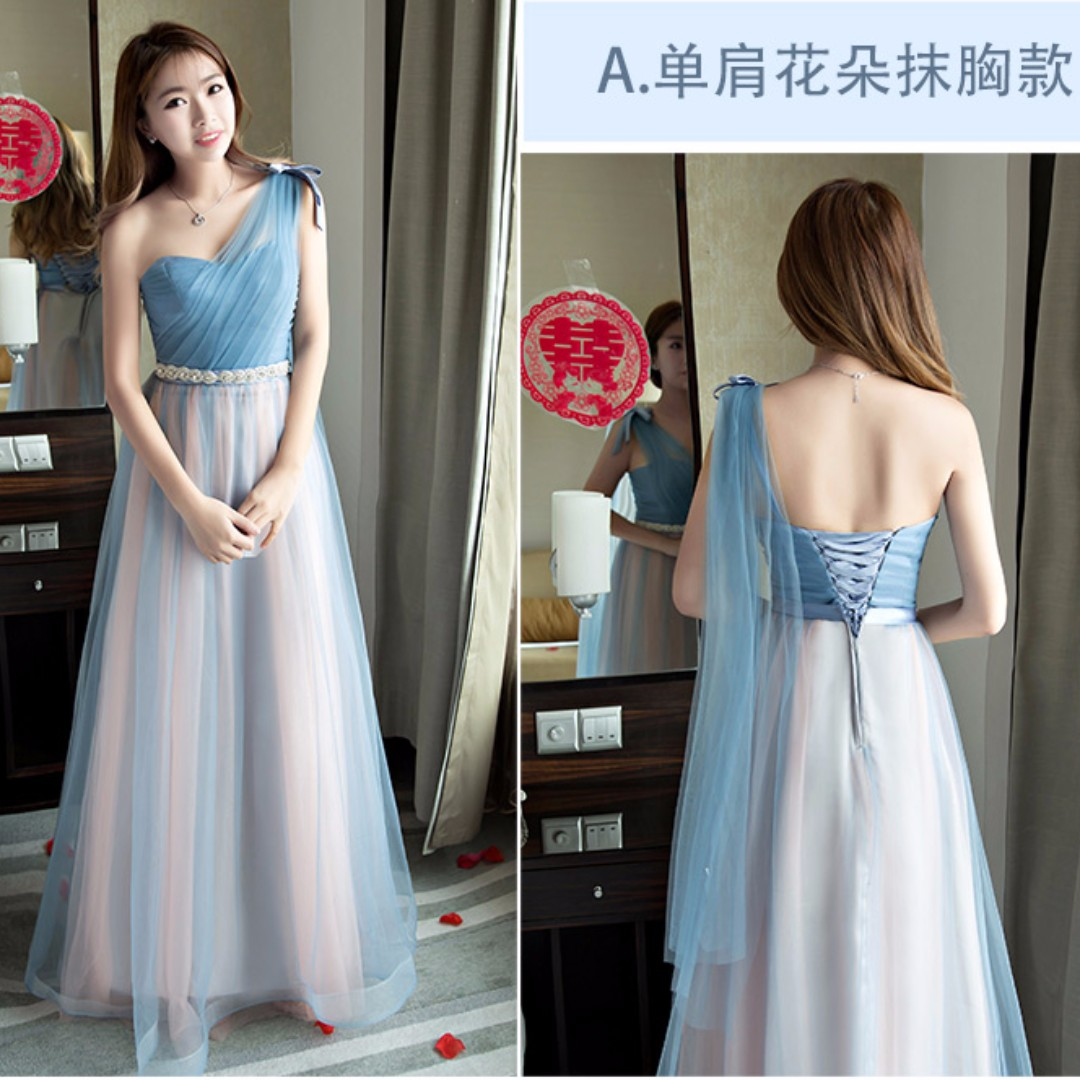 Wedding Collection - Bridesmaid Lovely Sweet Purple Blue Gowns