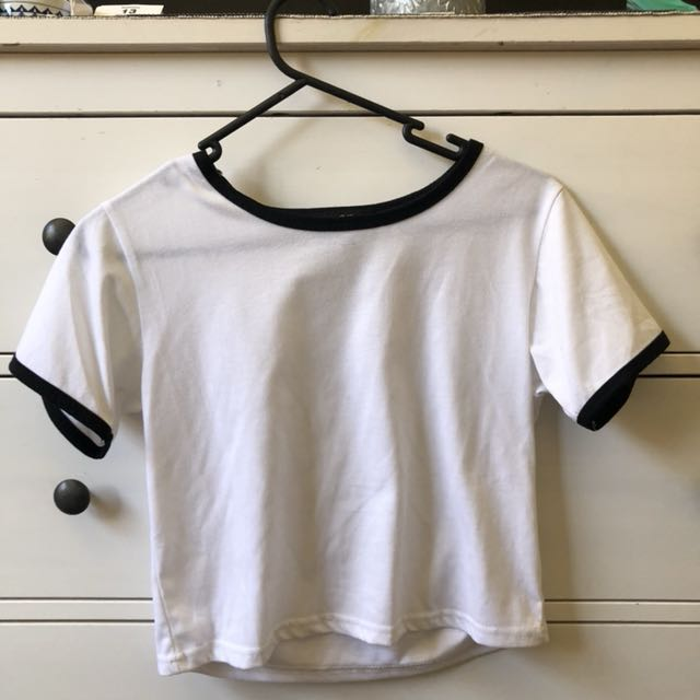 White Crop with Black Lining