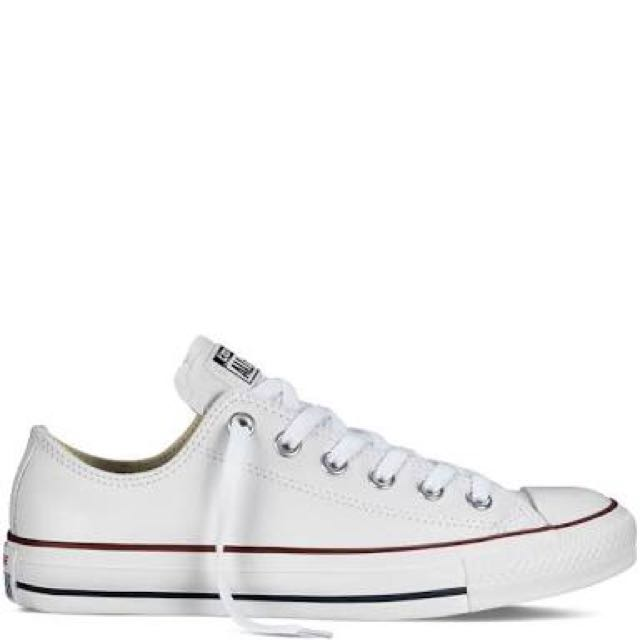 White leather low cut chucks
