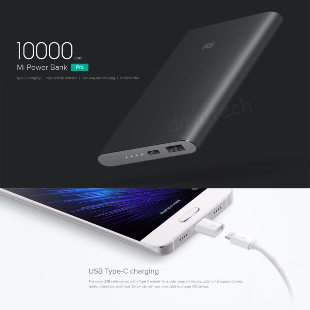 Xiaomi Powerbank 10000mah Pro 100 Authentic Mi Power Bank 2 Original Quick Charge Mobile Phones Tablets Tablet Accessories Banks Chargers On Carousell