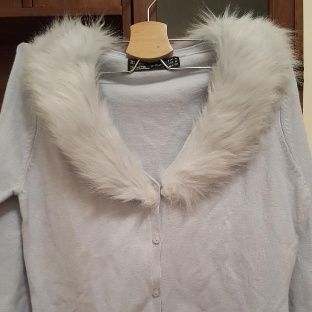Zara淺藍毛衣外套