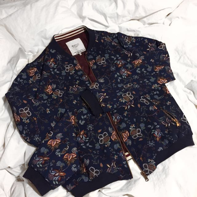 Zara Trafaluc Floral Bomber Jacket