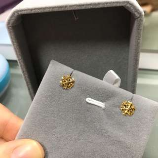 18k yellow gold earring 黃金耳釘