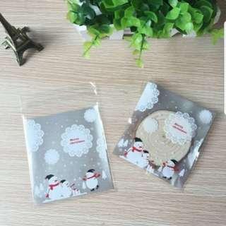 New Last Batch Christmas Silver Snowman Cookie Plastic Pouch 10cm