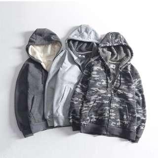 FRANK'S歐美特進-品牌 3色連帽外套 加絨 加厚 鋪毛連帽外套 美式 街頭 特色 休閒 保暖 男女 有大尺碼