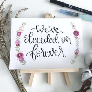 Calligraphy Wedding display card / home deco Card