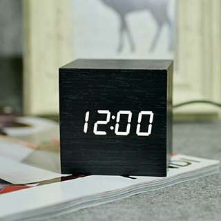 [LARGE DISCOUNT] Wooden Multi-functional Modern LED Digital Desk Clock, Portable Clock, Classy And Inexpensive, Table Clock, Office And Home Decor, Ready Local Stock, Local Delivery, 60×60×60mm, SMALL SIZE, Square model
