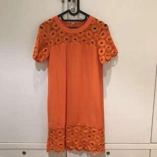 Zalora Bright Orange Dress (Size XS)