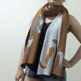 小狐狸雙色大圍巾