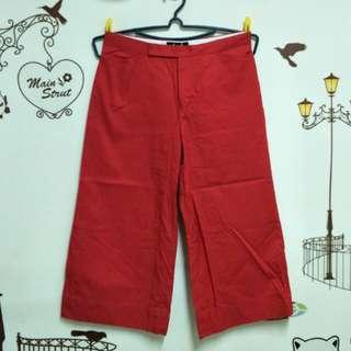 A&D 純棉紅色7分褲 寬褲