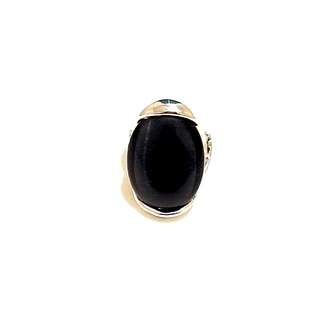 Silver Metal Ring and Black Stone