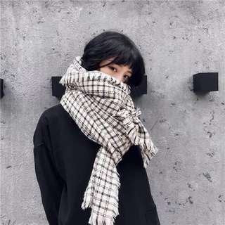 英倫風仿羊絨長款圍巾(預購)