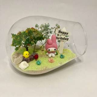 Dry baby breath with MyMelody in Canon Jar terrarium