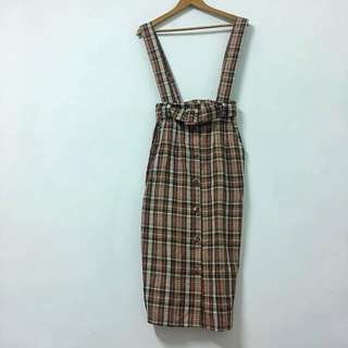 Vintage 古著格紋吊帶裙