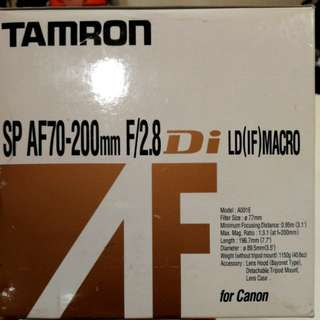 New Tamron SP AF 70-200mm F2.8 Digital LD (IF) MACRO for CANON camera lens