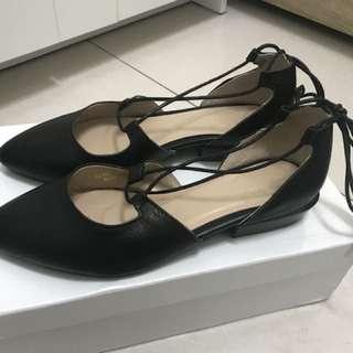 腳踝綁帶鞋(黑色)size:22.5
