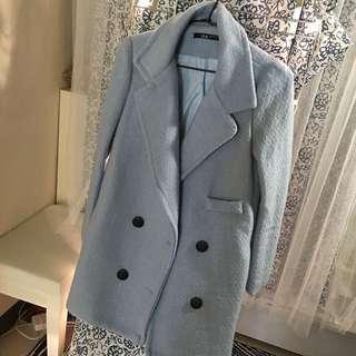 粉藍大衣 韓版