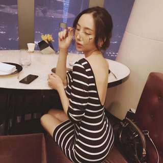 大露背貼身洋裝