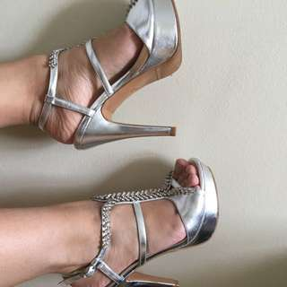 Silver metallic prom/formal heels