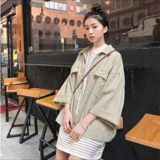 韓版卡其色寬鬆牛仔外套