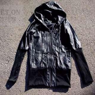 日本購回!Moussy 日本品牌 原宿風 頹廢皮衣外套騎士 龐克搖滾復古著皮外套夾克