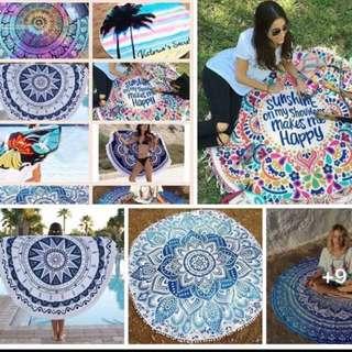 ONHAND round beach towel with tassel