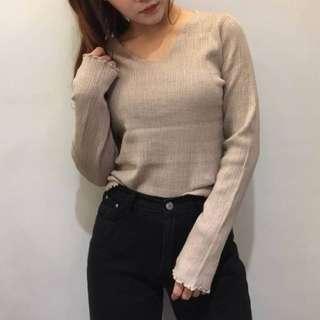 ✨現貨✨韓製v領針織毛衣 花邊