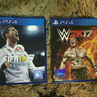 PS4 Fifa18 and WWE 2K17