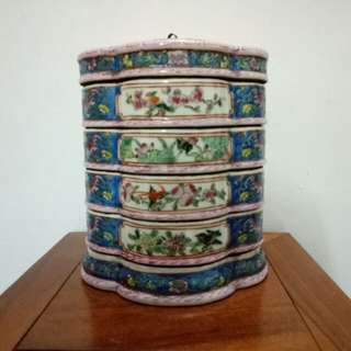 Chinese Tiffin Indigo Blue Hand Painted Birds