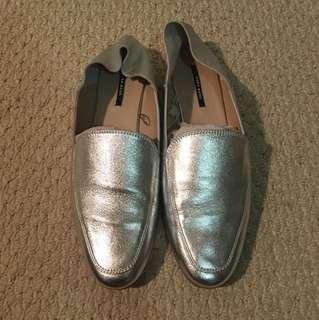 Women's Zara silver loafer size 38