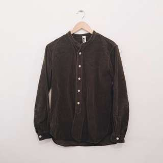 MHL (Margaret Howell) olive brown corduroy button up collarless shirt.