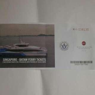 Singapore - Batam Ferry Tickets, 2 Way Return Tickets For 2 Passengers, Valid Until 31 Dec 2017