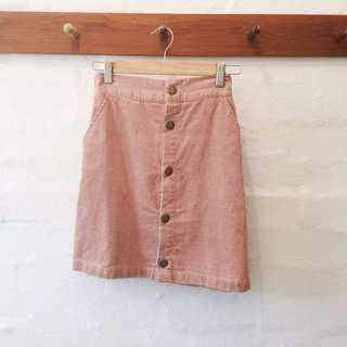 Earth Music and Ecology pink corduroy skirt.